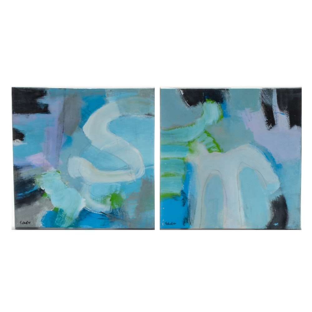 "Lisa Schafer Abstract Acrylic Diptych ""Yes Ms"""