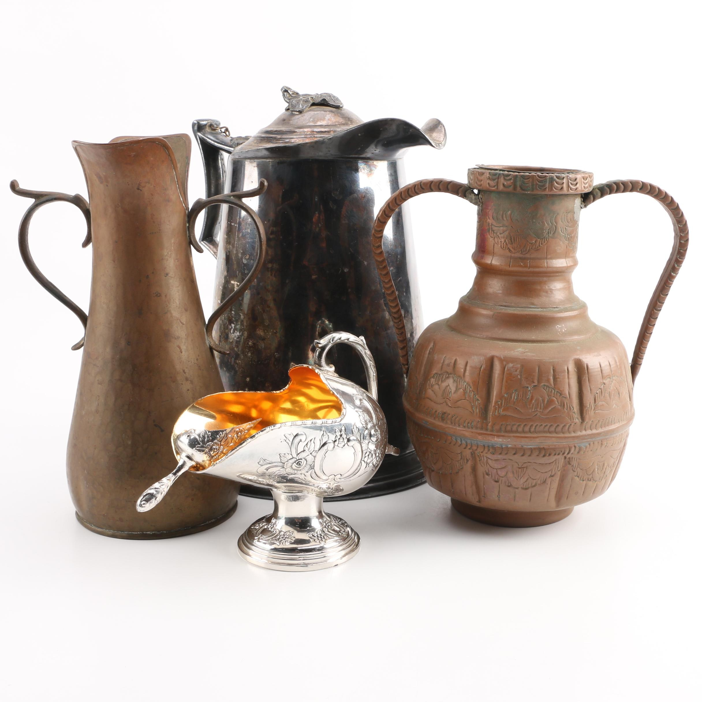 Antique James Stimpson Pitcher with Silver Plate, Brass and Copper Serveware