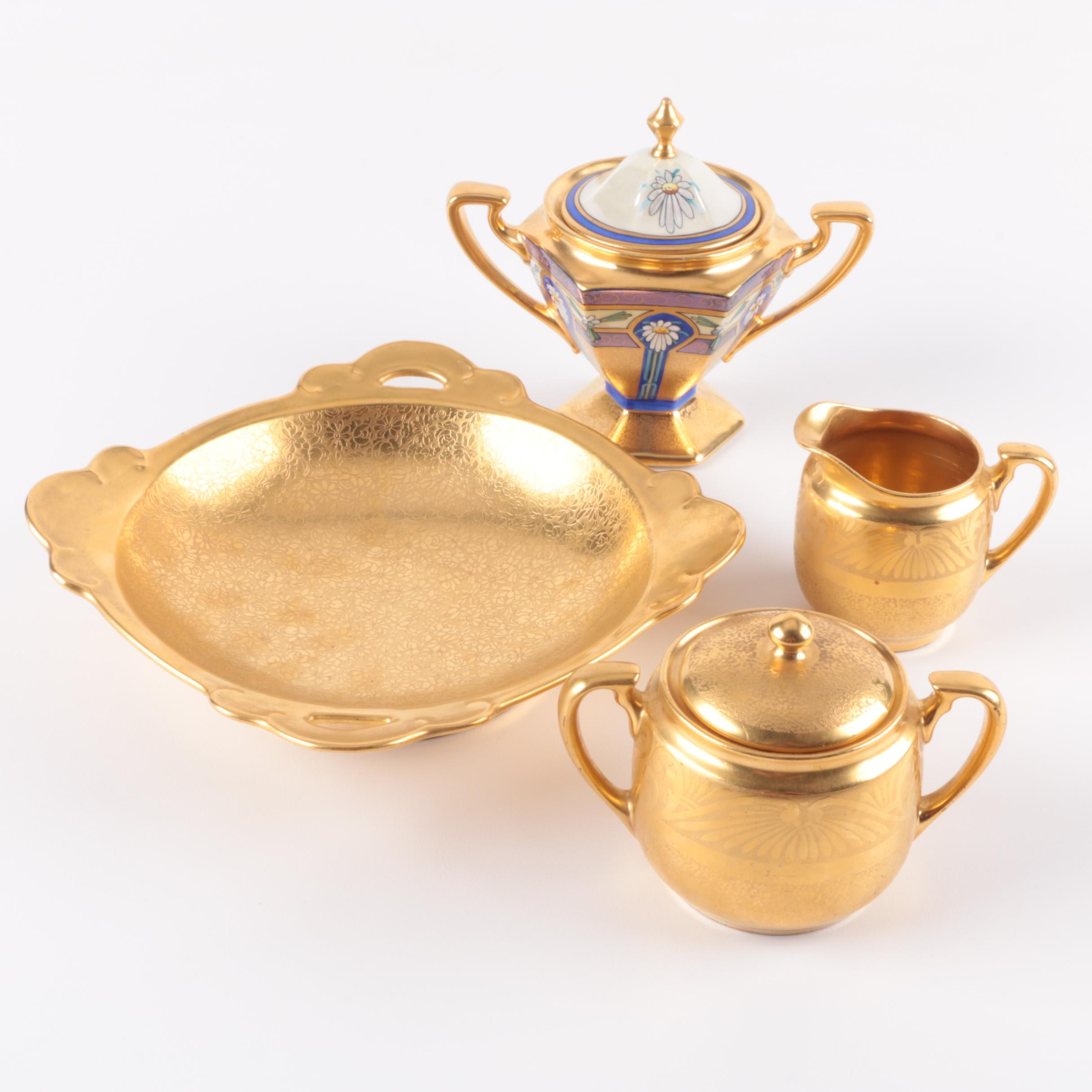 Vintage Pickard China Gold Encrusted Serveware