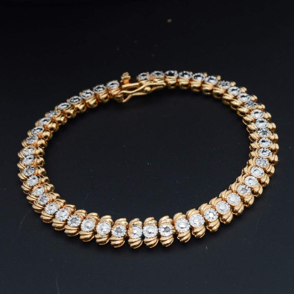 Gold Wash on Sterling Silver Diamond Tennis Bracelet