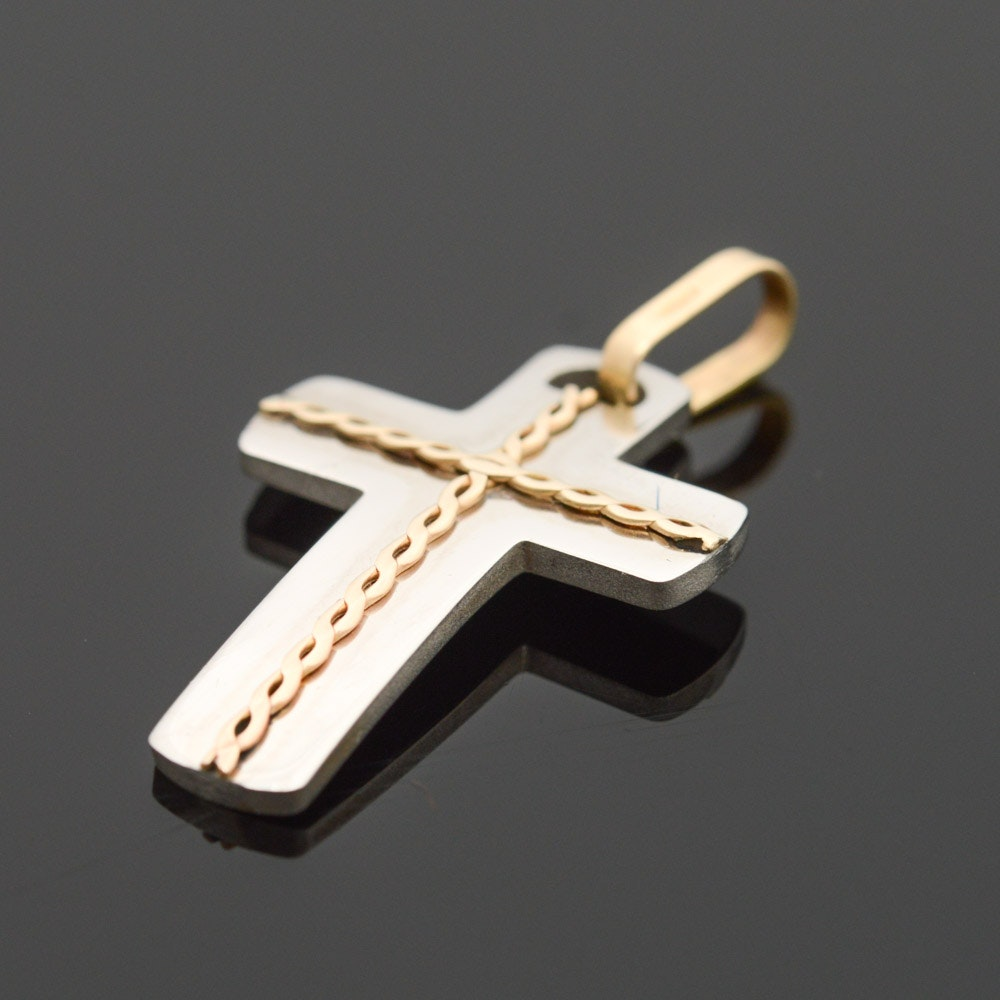 Milor Stainless Steel 18K Yellow Gold Accented Cross