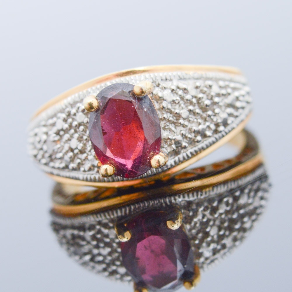 Gold Wash on Sterling Silver Imitation Gemstone and Diamond Ring