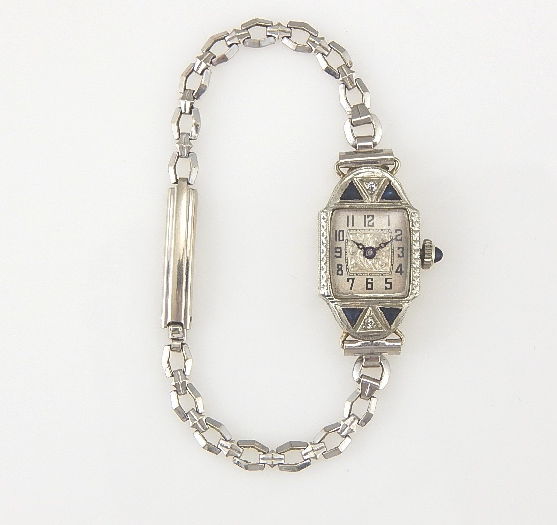 18K White Gold Art Deco Styled Wristwatch
