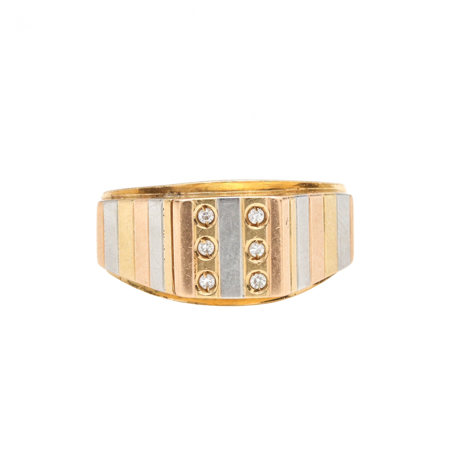 18K Yellow Gold Diamond Ring with Tri Color Gold Accents