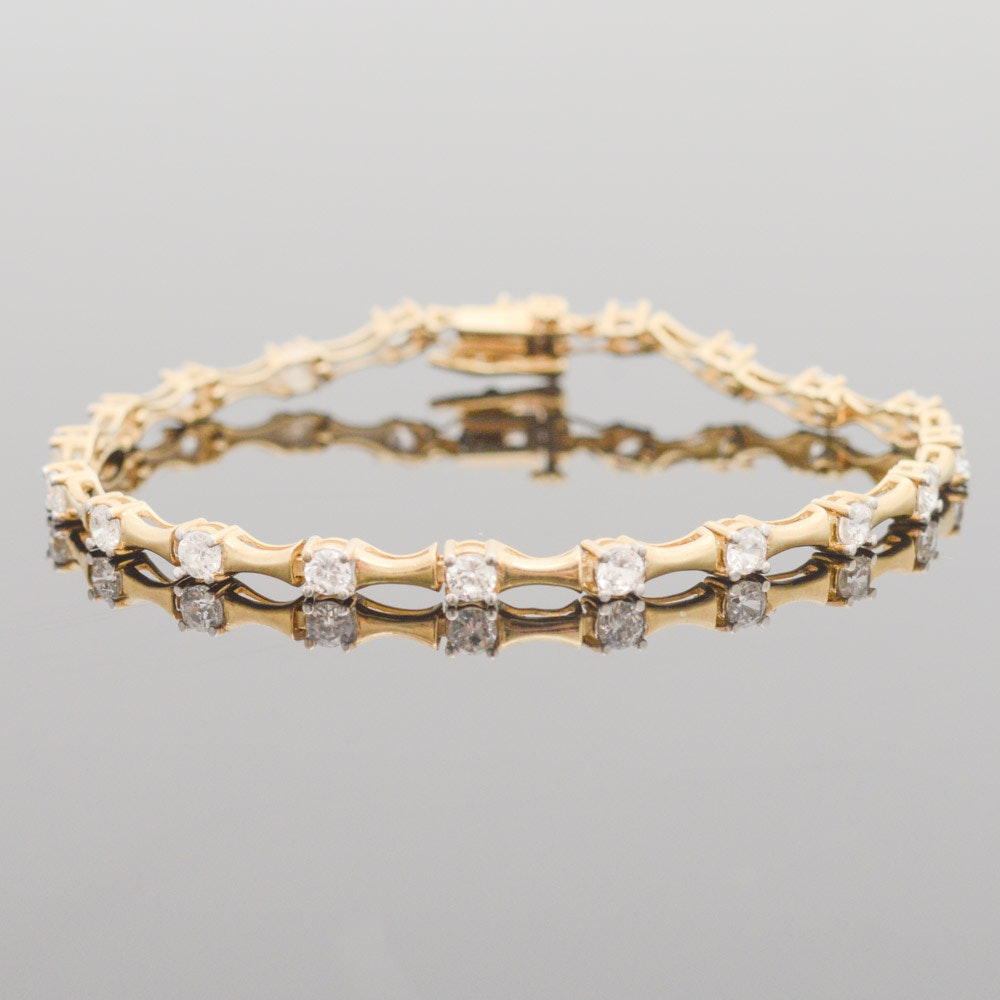 10K Yellow Gold Cubic Zirconia Tennis Bracelet