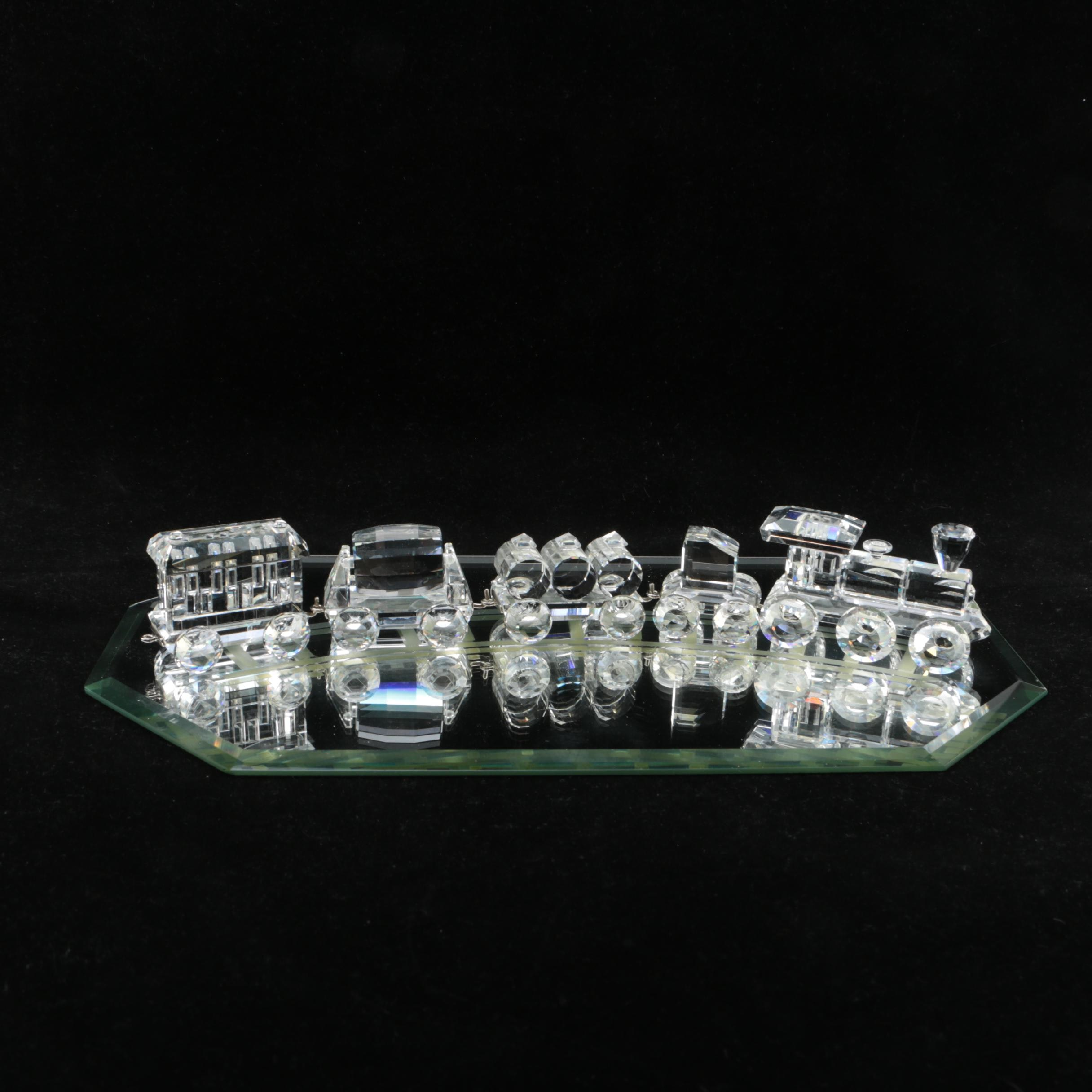 """Swarovski """"When We Were Young"""" Crystal Toy Train Set with Mirror Base"""