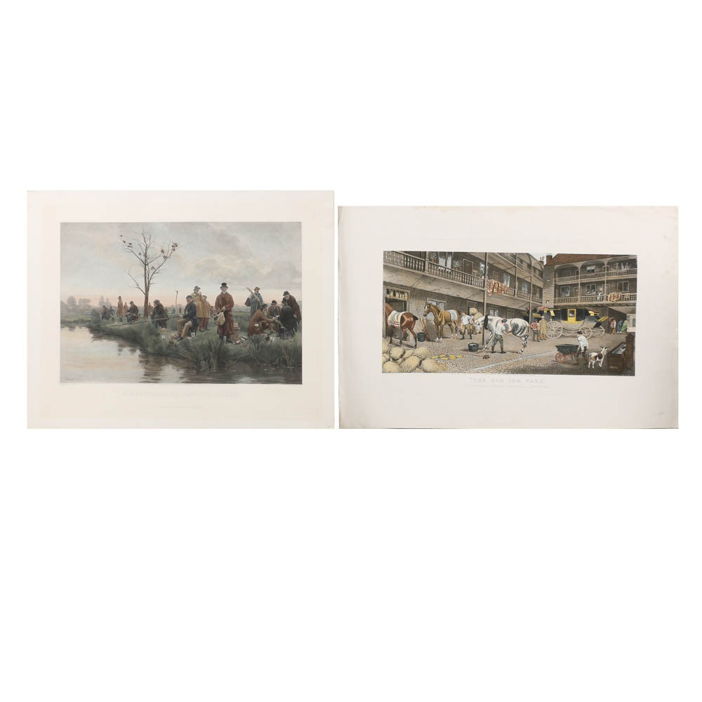 """Reproduction Intaglio Prints Including """"The Old Inn Yard"""""""