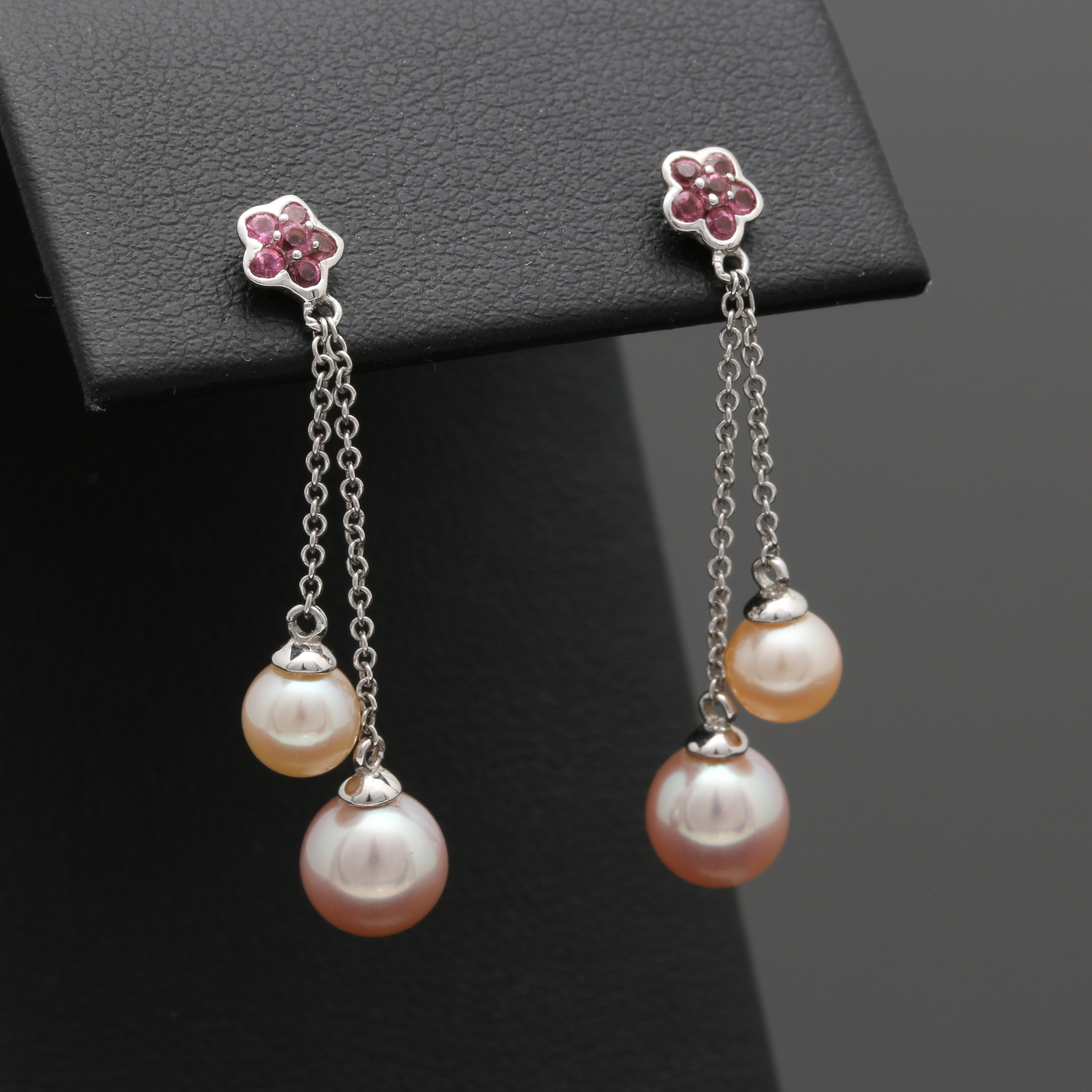 14K White Gold Cultured Pearl and Pink Tourmaline Earrings