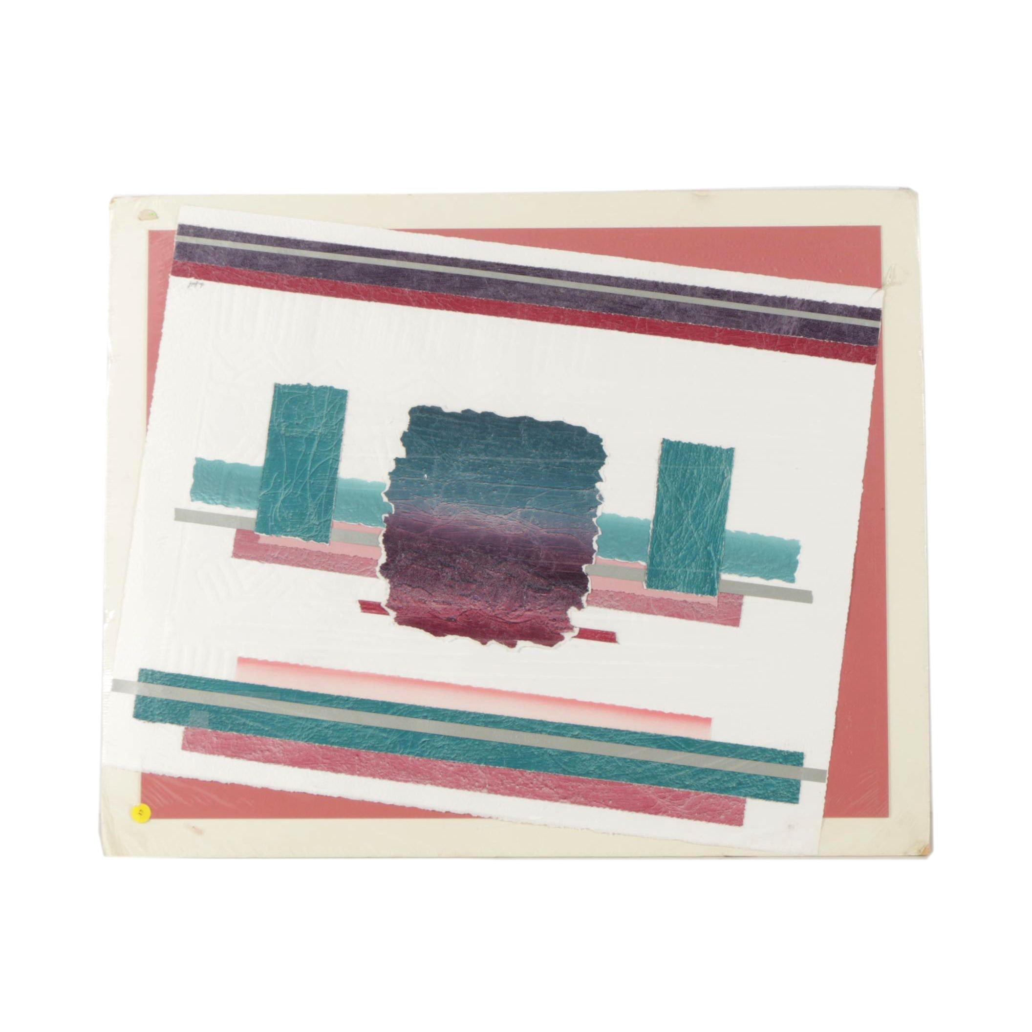 "Lawrence Lerfald Mixed Media Paper Collage ""Purple Dusk"""