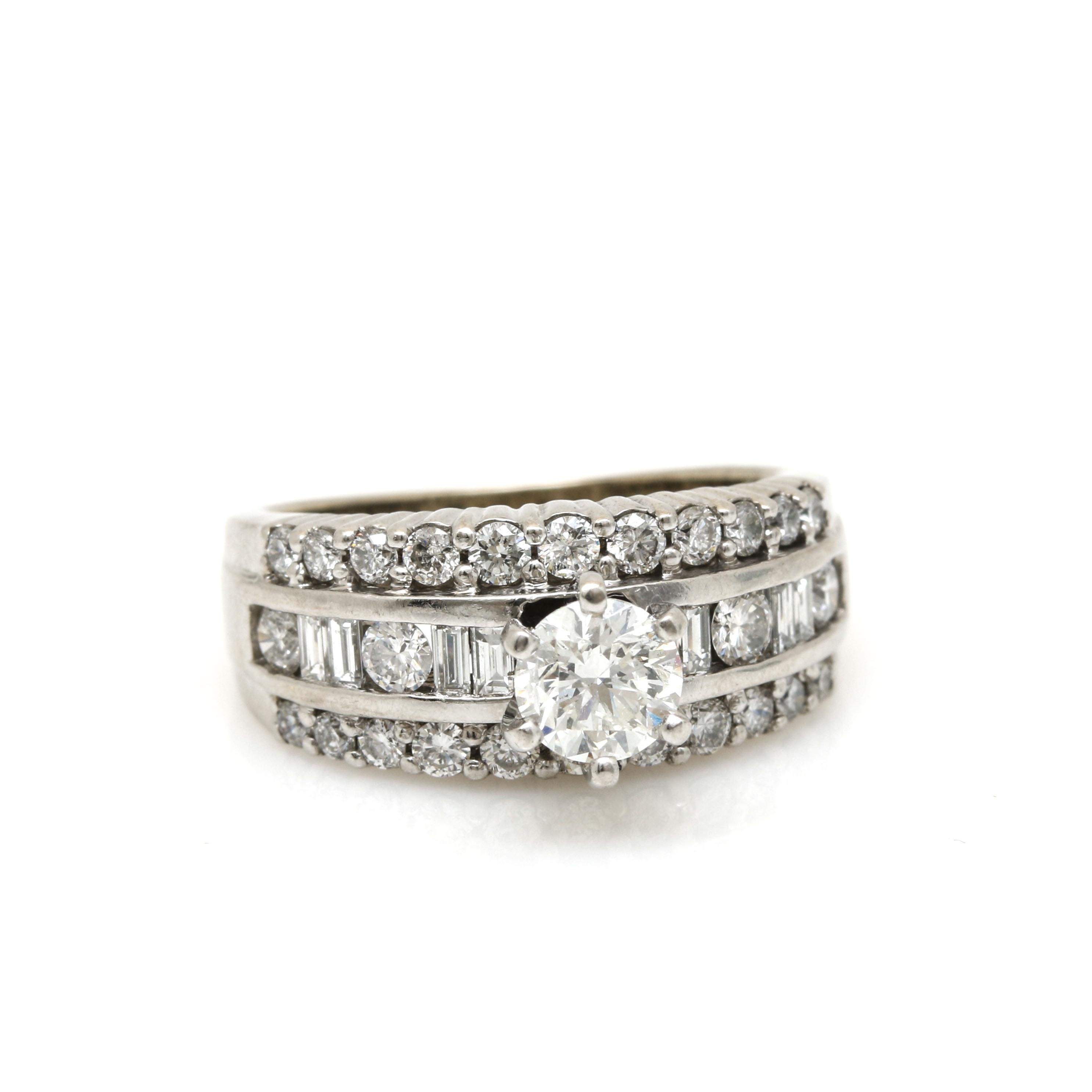 14K White Gold 1.54 CTW Diamond Ring