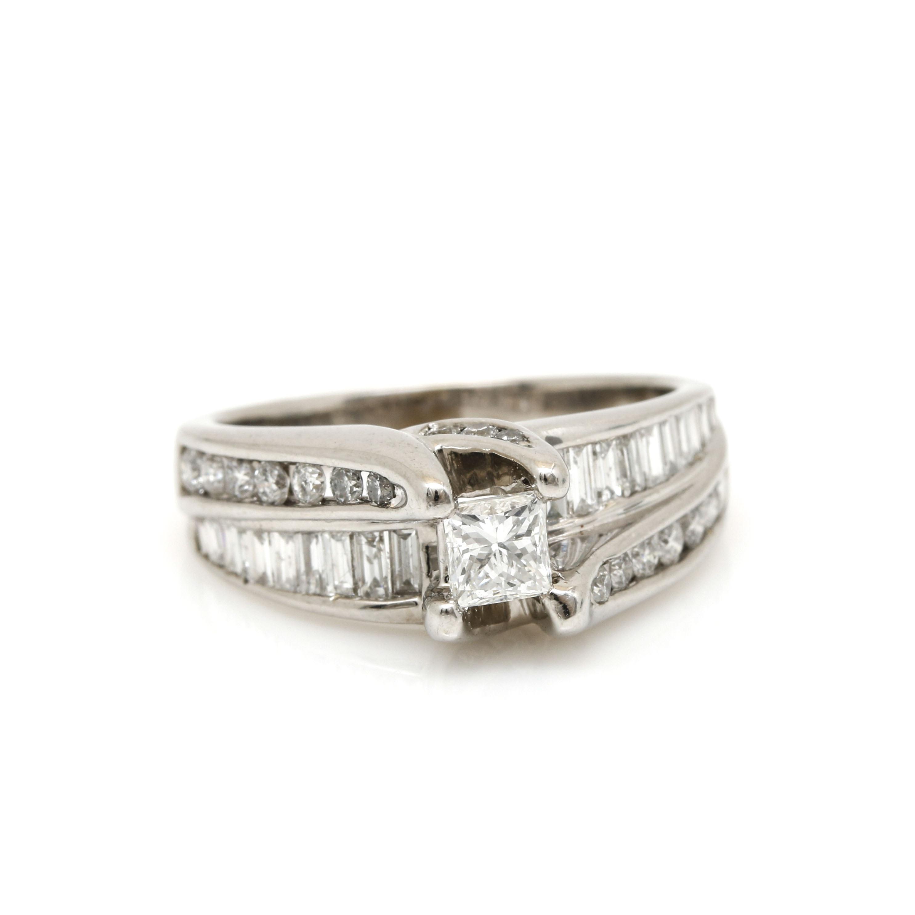 14K White Gold 1.18 CTW Diamond Ring