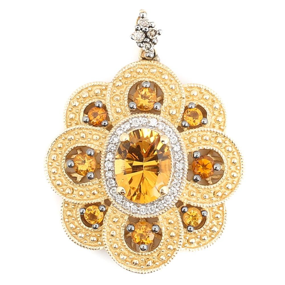 Le Vian 14K Yellow Gold Citrine and Diamond Textured Flower Pendant