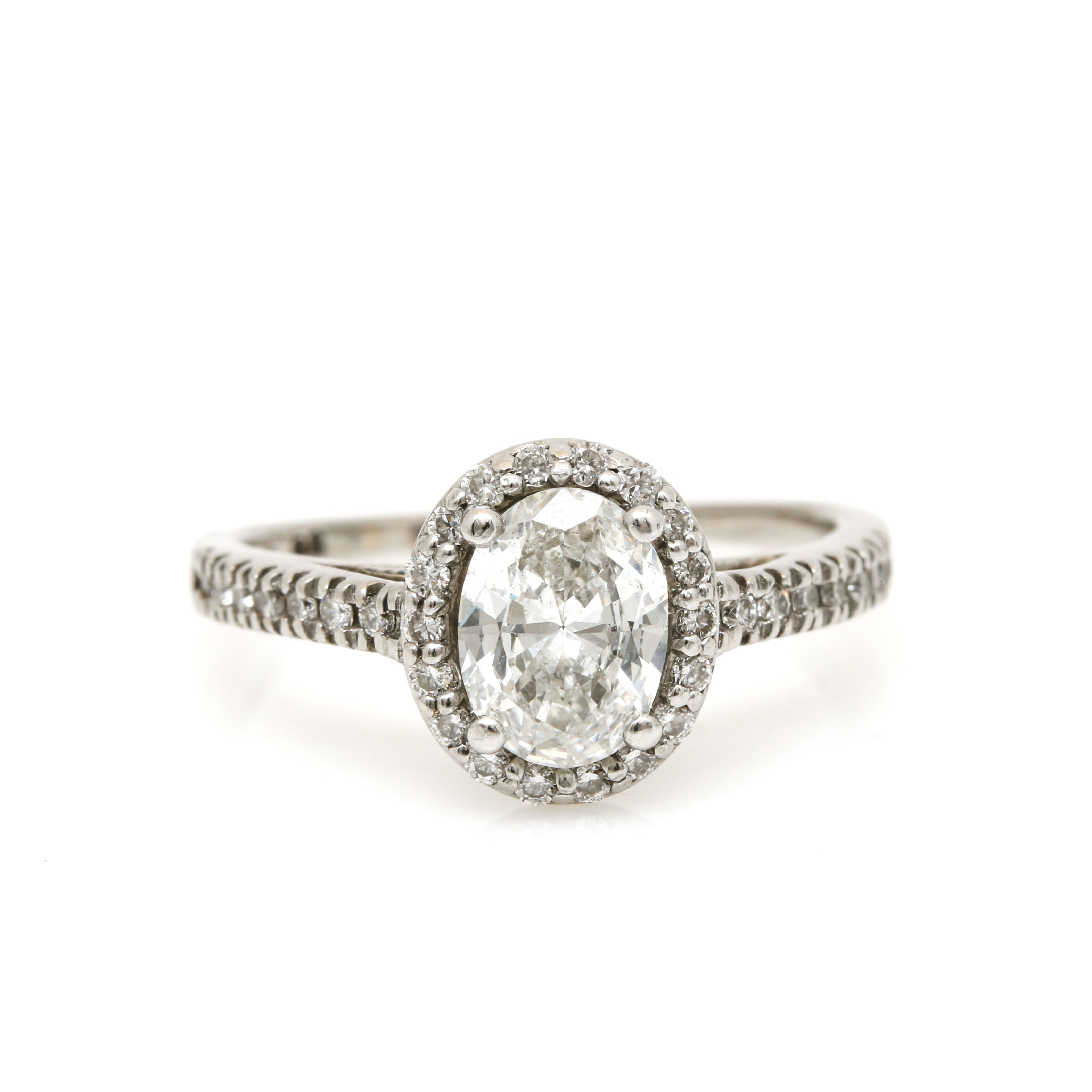 14K White Gold 1.06 CTW Diamond Ring