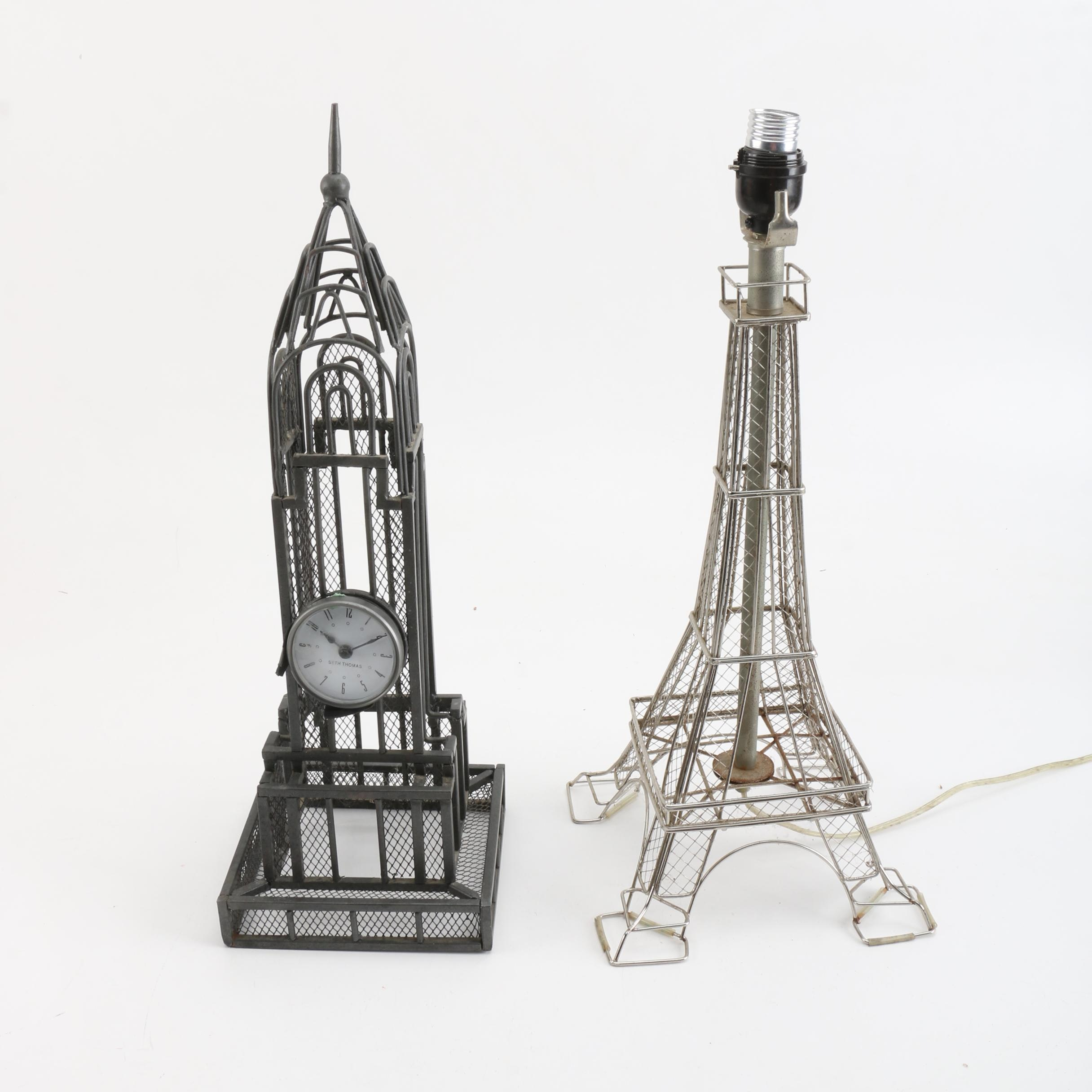 Seth Thomas Chrysler Building Desk Clock and Eiffel Tower Table Lamp