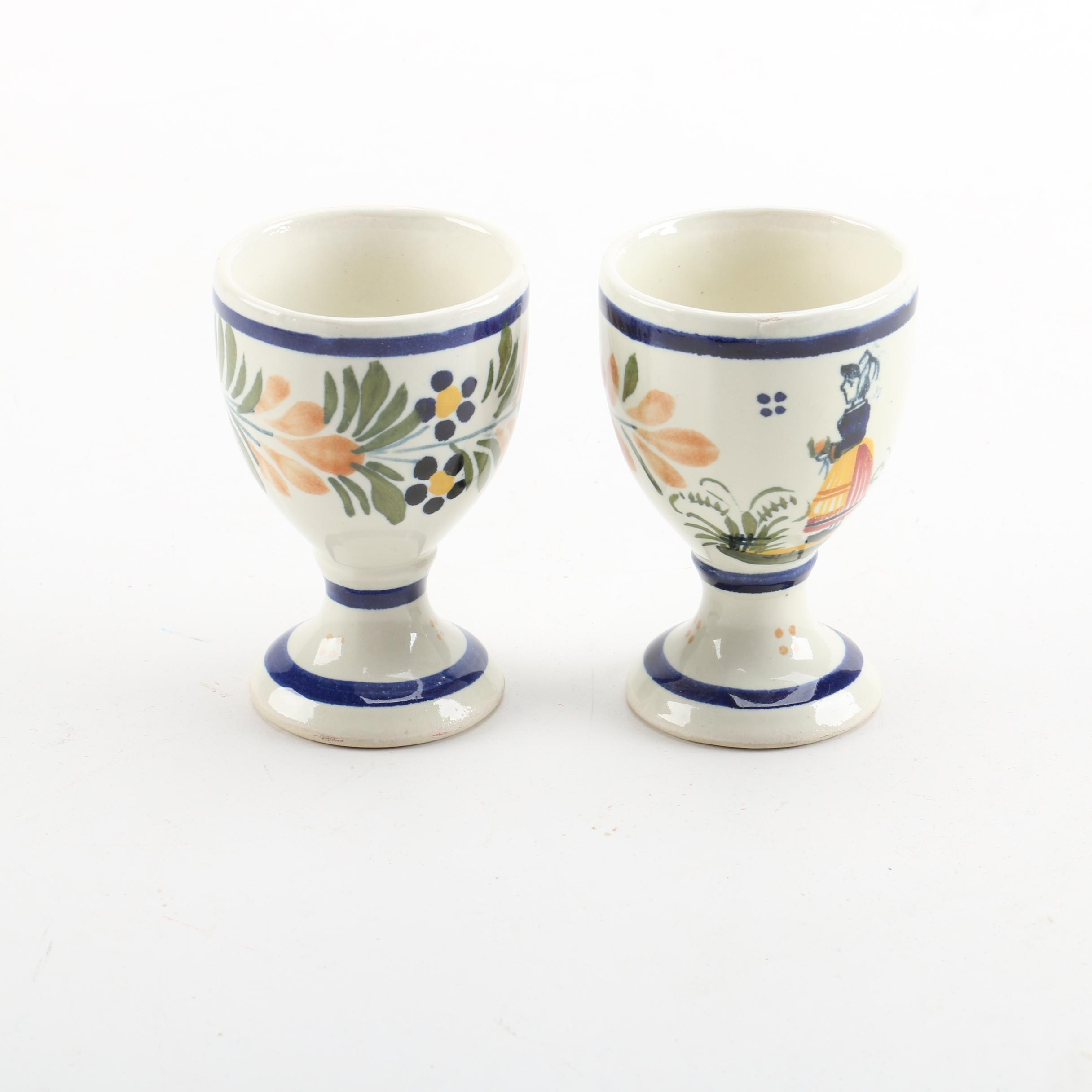 Hand-Painted Henriot Quimper Egg Cups