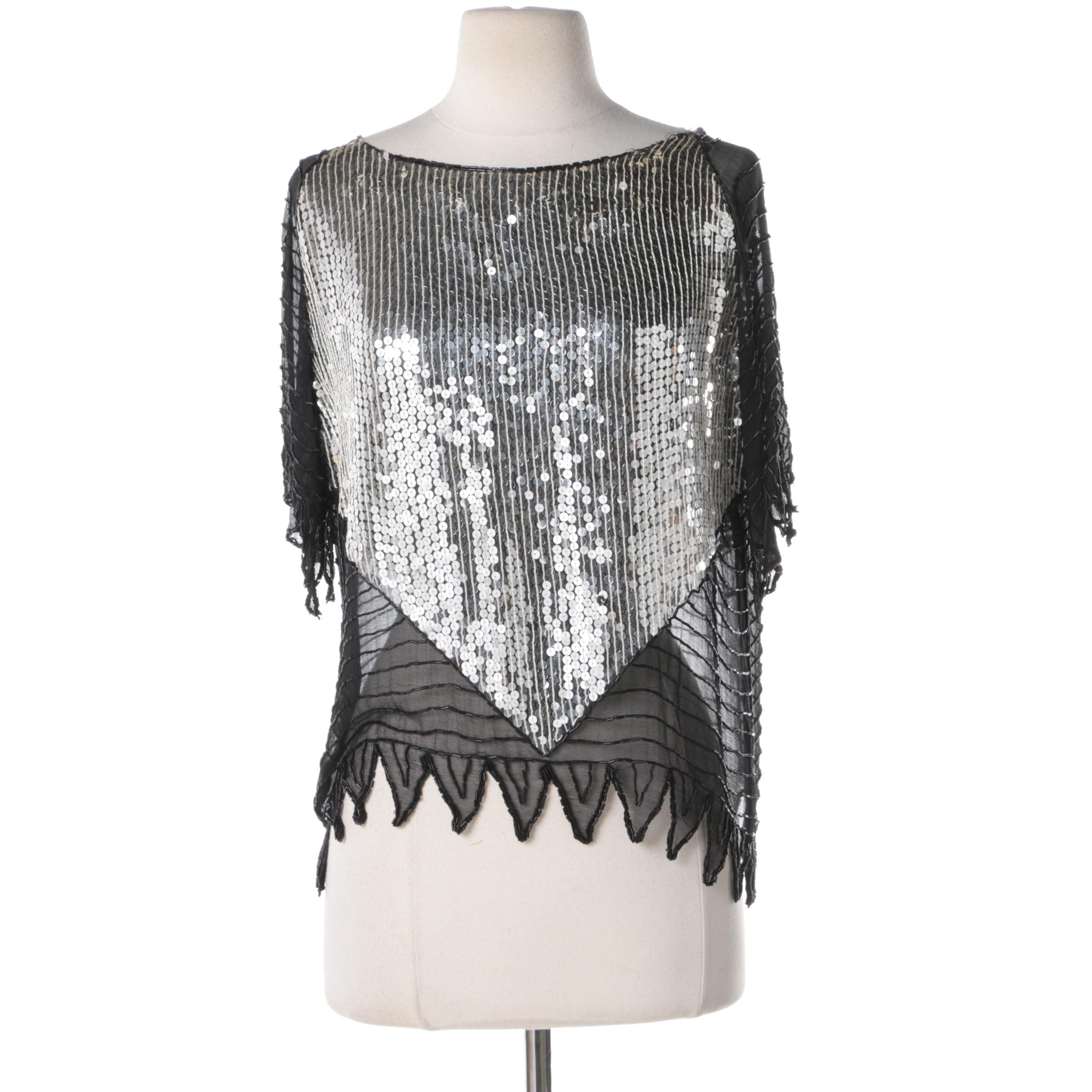 Women's Black Silk, Beaded and Sequined Embellished Blouse