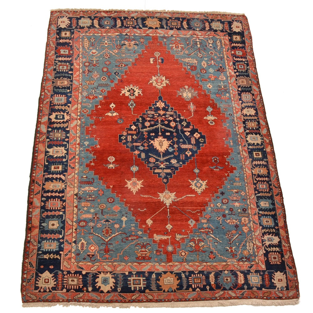 Hand-Knotted Wool Turkish Shirvan Area Rug