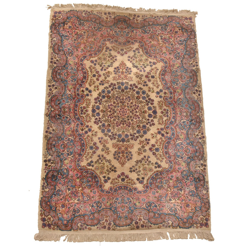 Semi-Antique Hand-Knotted Persian Kerman Area Rug