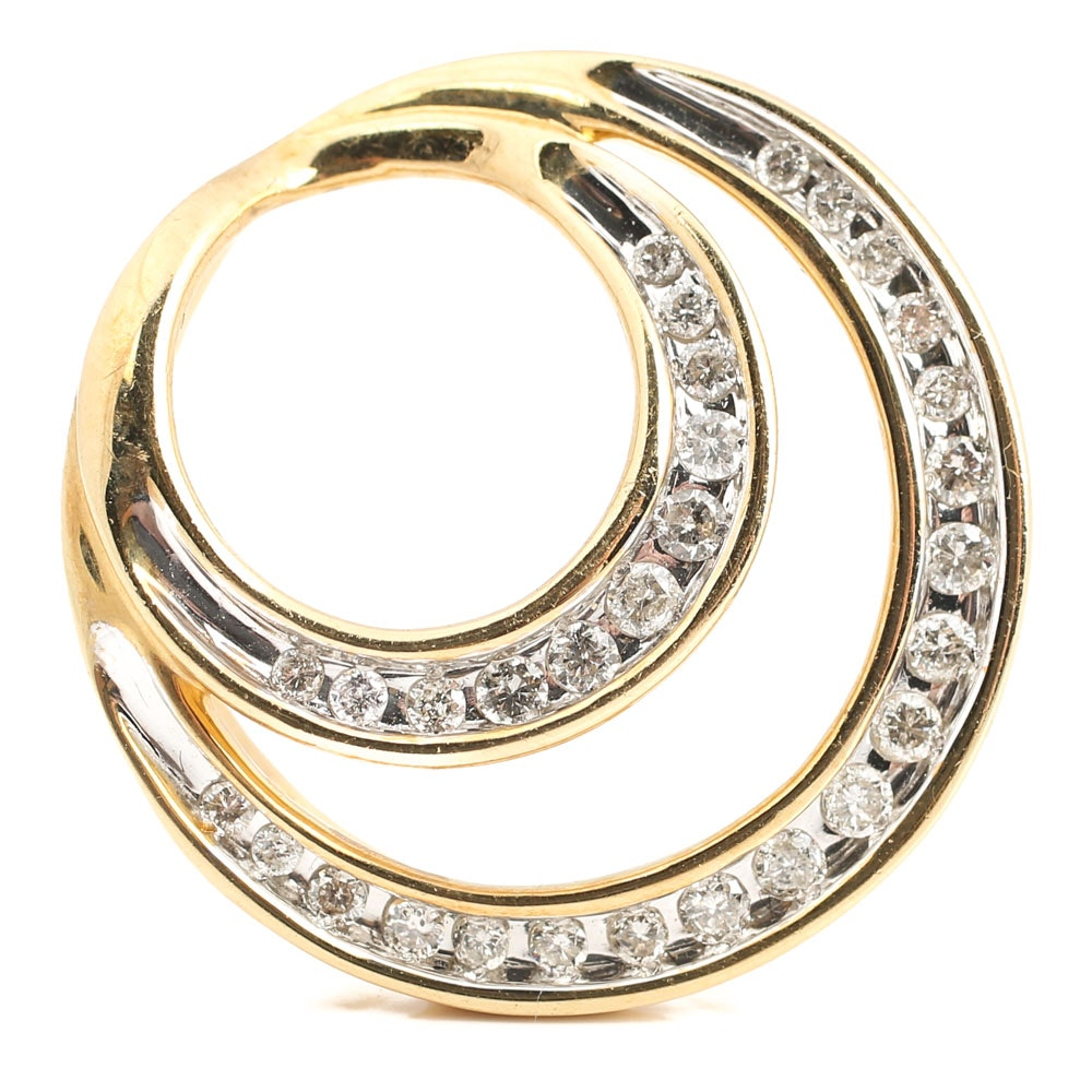 14K Yellow Gold Double Circle Diamond Slide Pendant