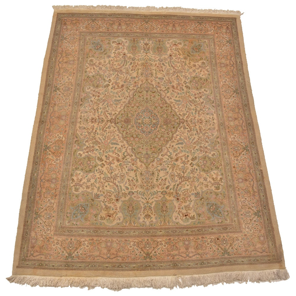 Semi-Antique Hand-Knotted Persian Tabriz Room Size Rug