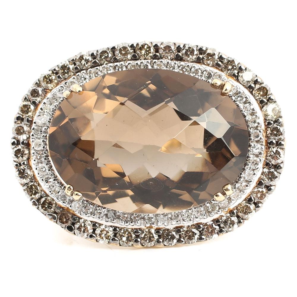 14K Yellow Gold Smoky Quartz Double Diamond Halo Ring