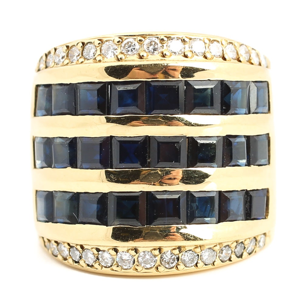 18K Yellow Gold 4.80 CTW Sapphire and Diamond Ring