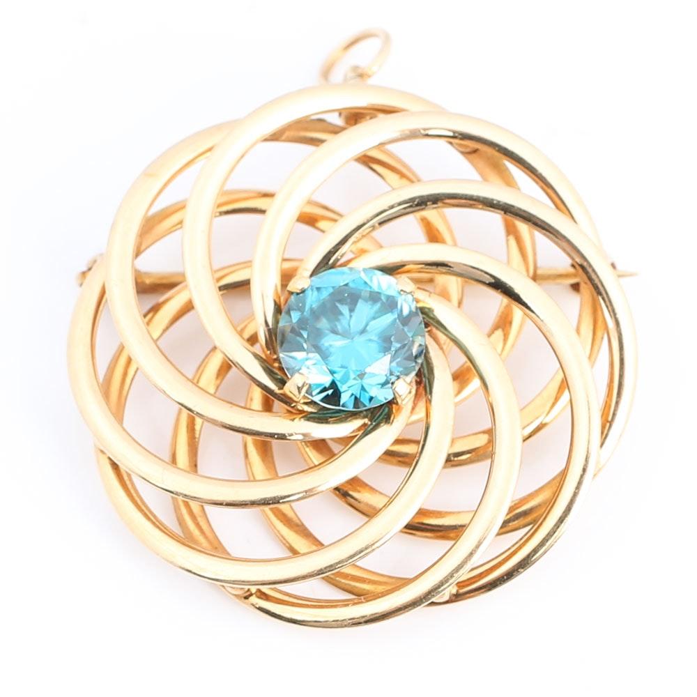 14K Yellow Gold Blue Zircon Radiating Circle Pendant