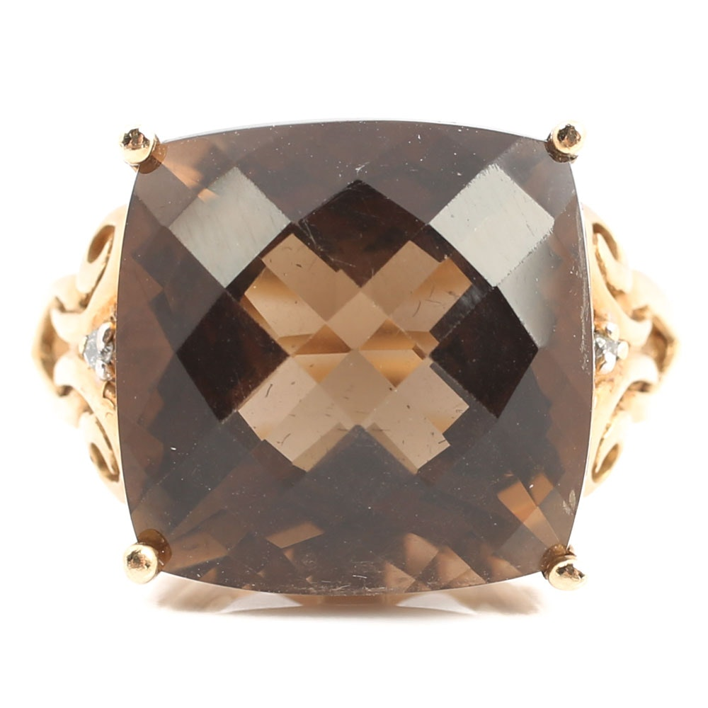 10K Yellow Gold Smoky Quartz and Diamond Ring