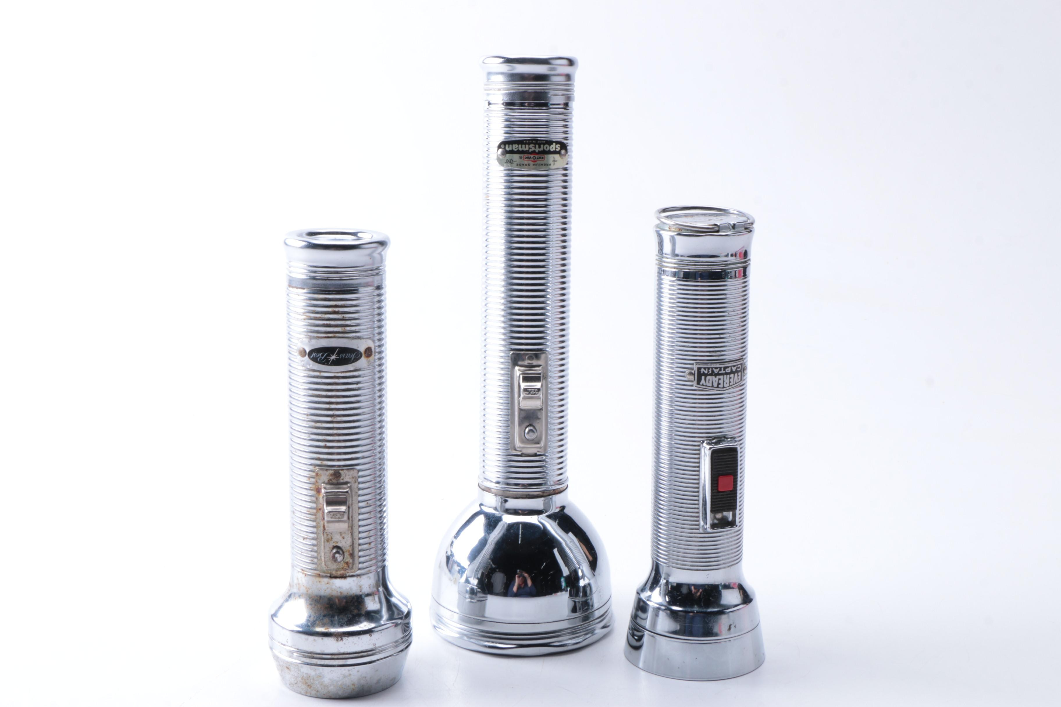 Vintage Flashlights, Including Eveready and Ray-O-Vac
