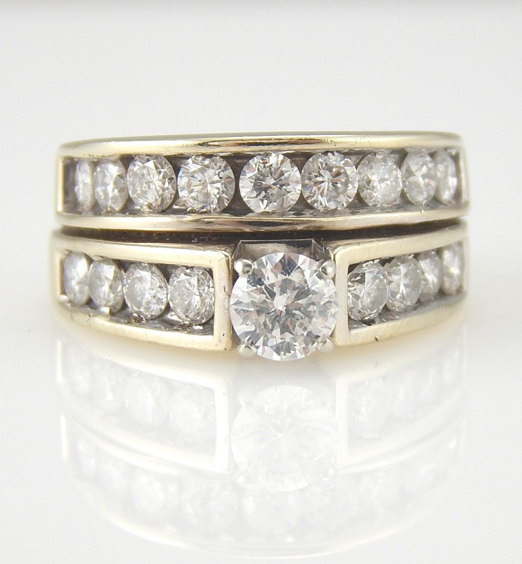 14K White Gold 2.24 CTW Diamond Ring Set