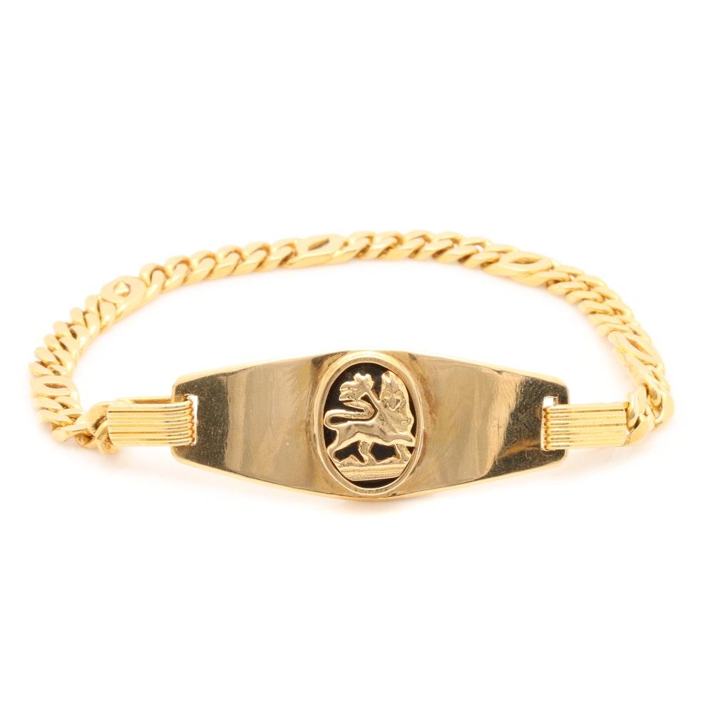 18K Yellow Gold Onyx Lion of Judah I.D Bracelet