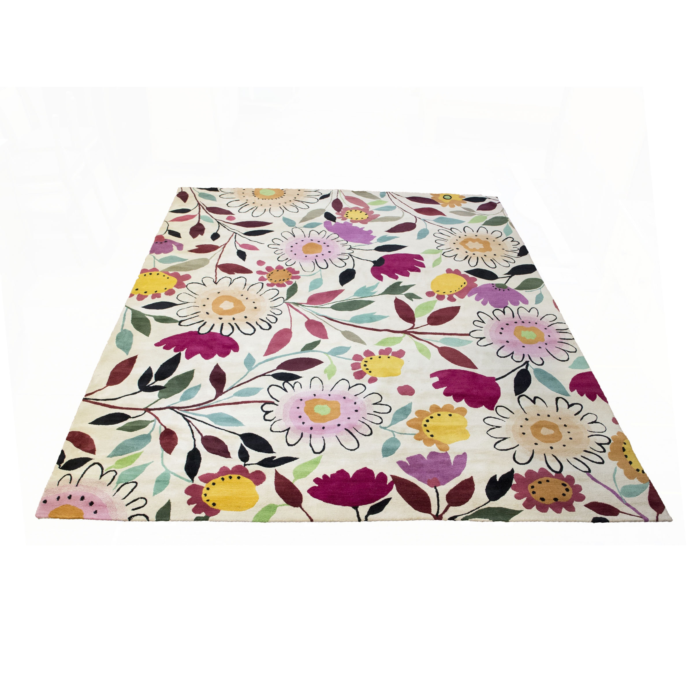 Hand-Knotted Contemporary Floral Wool Room Size Rug