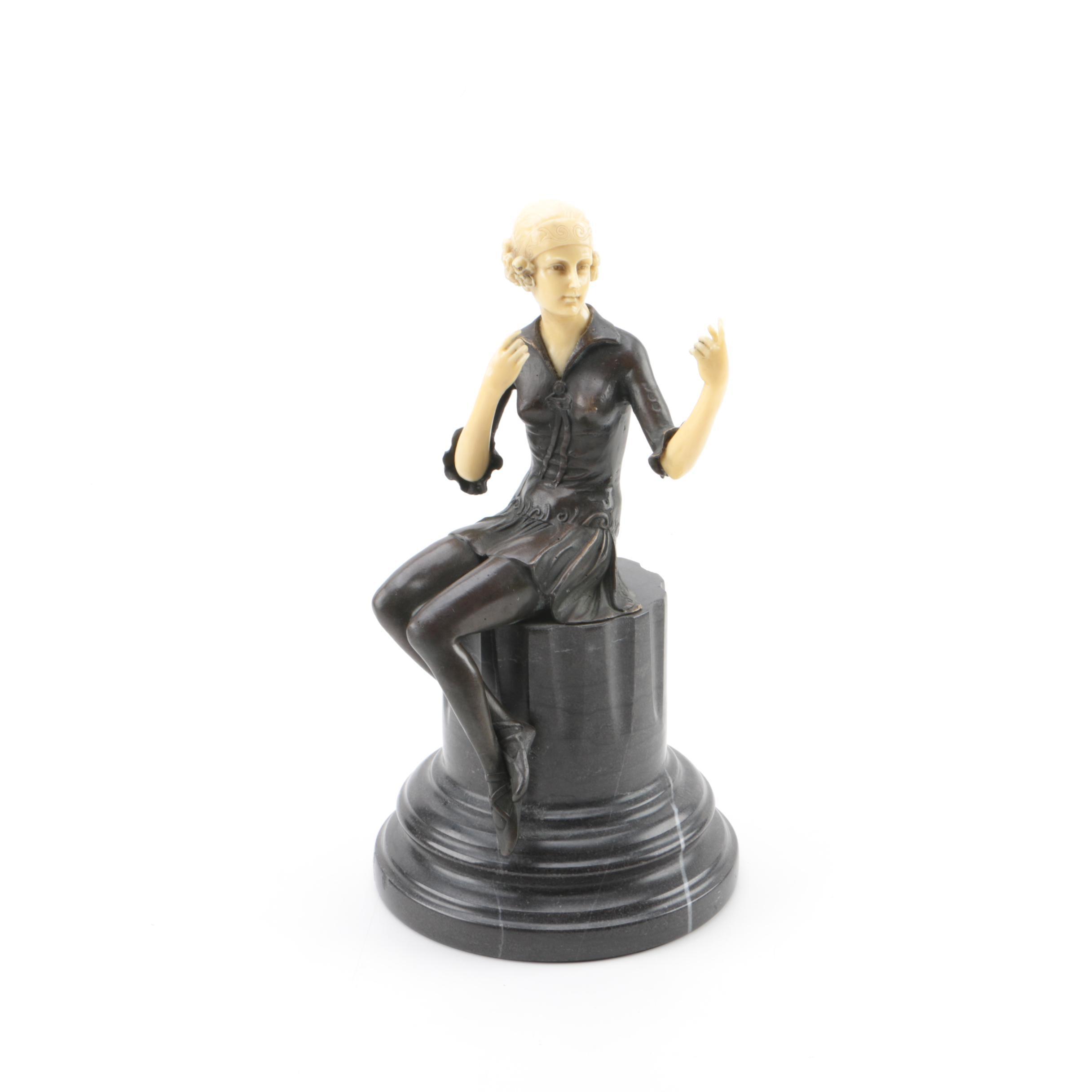 """Bronze Sculpture After Fritz Ferdinand Preiss """"Powder Puff Girl"""""""
