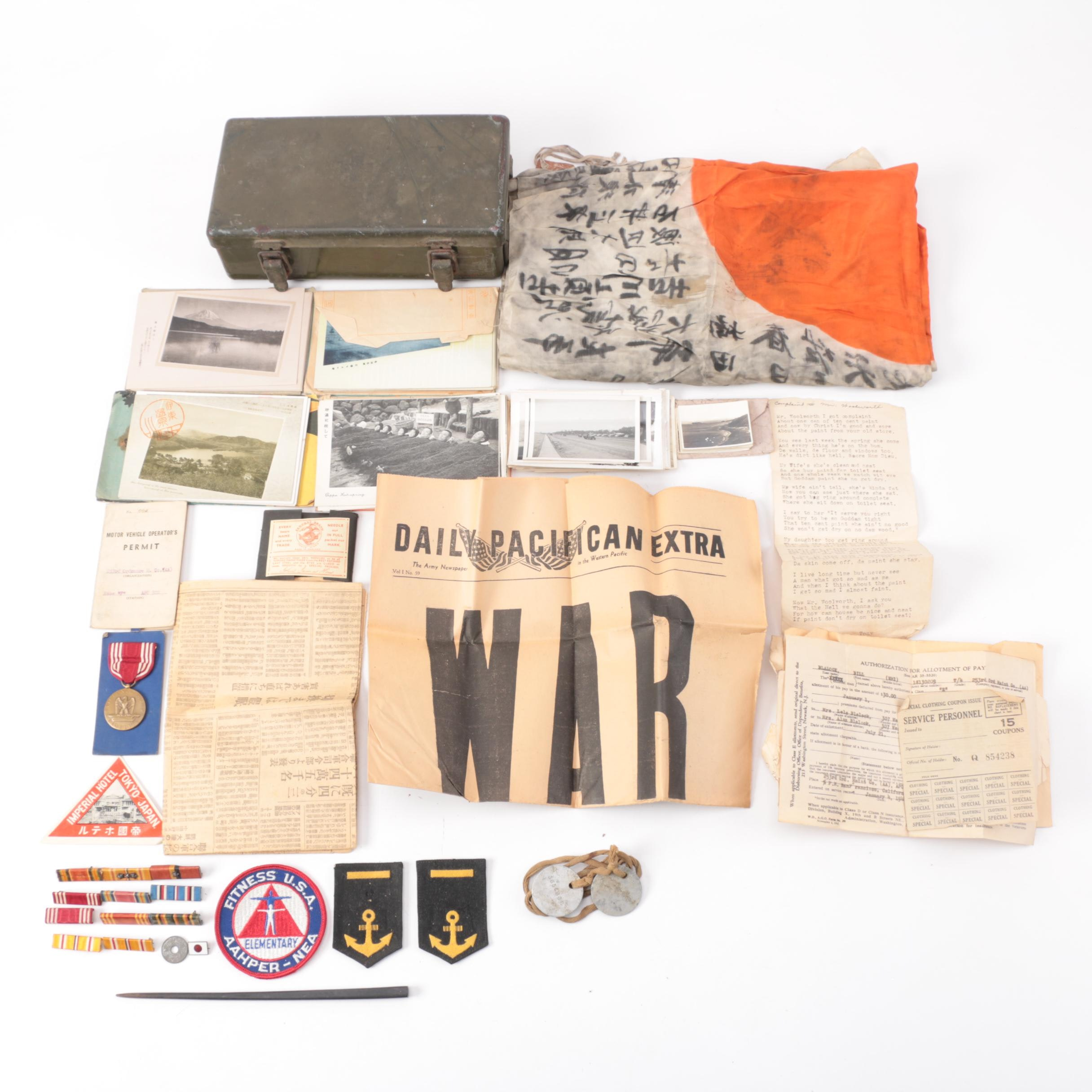 "WWII Military Memorabilia Including Japanese ""Good Luck"" Flag"