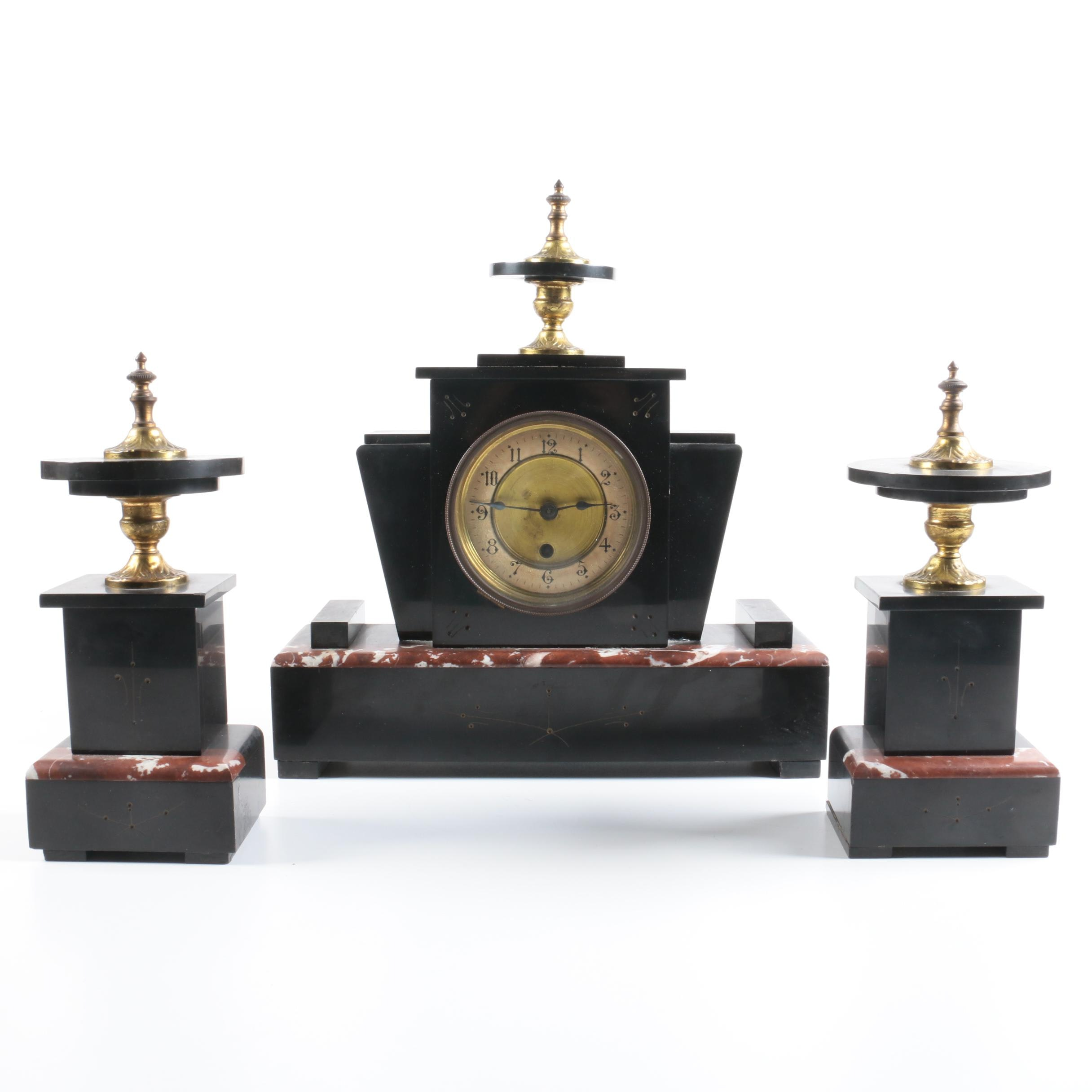 Art Deco Slate and Marble Garniture Set