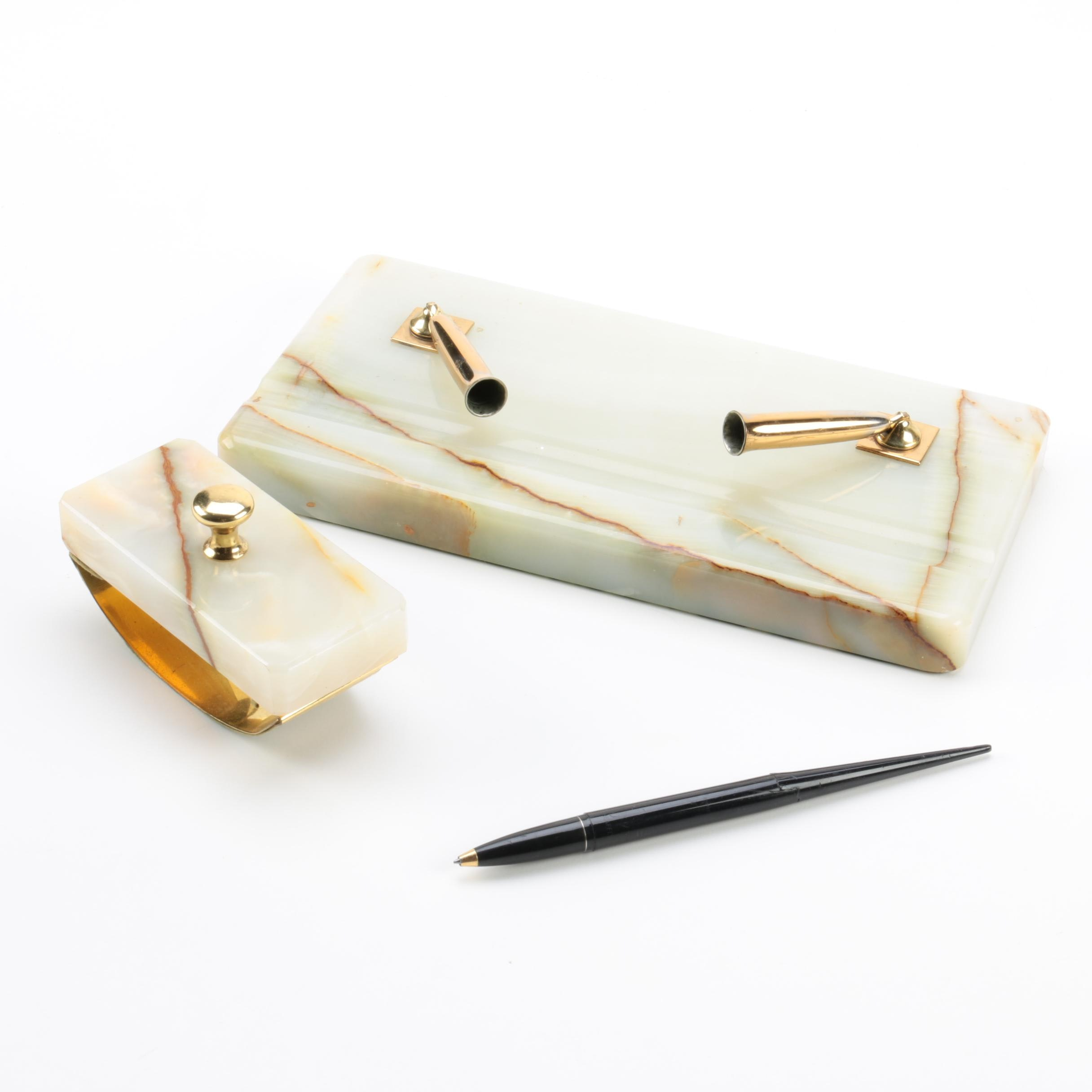 Calcite Pen Holder and Accessories