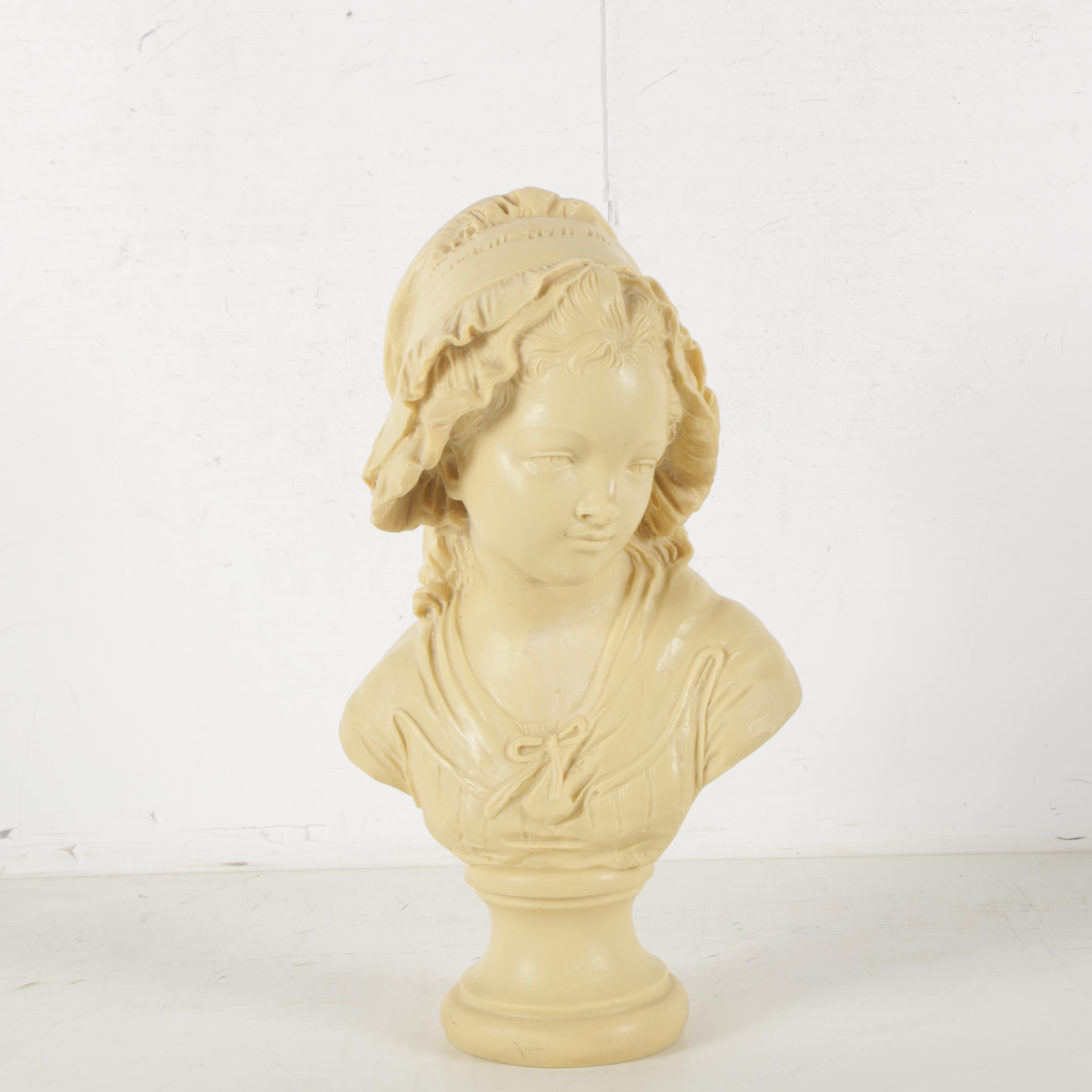 Resin Sculpture After Grinam Niam Bust of a Young Woman