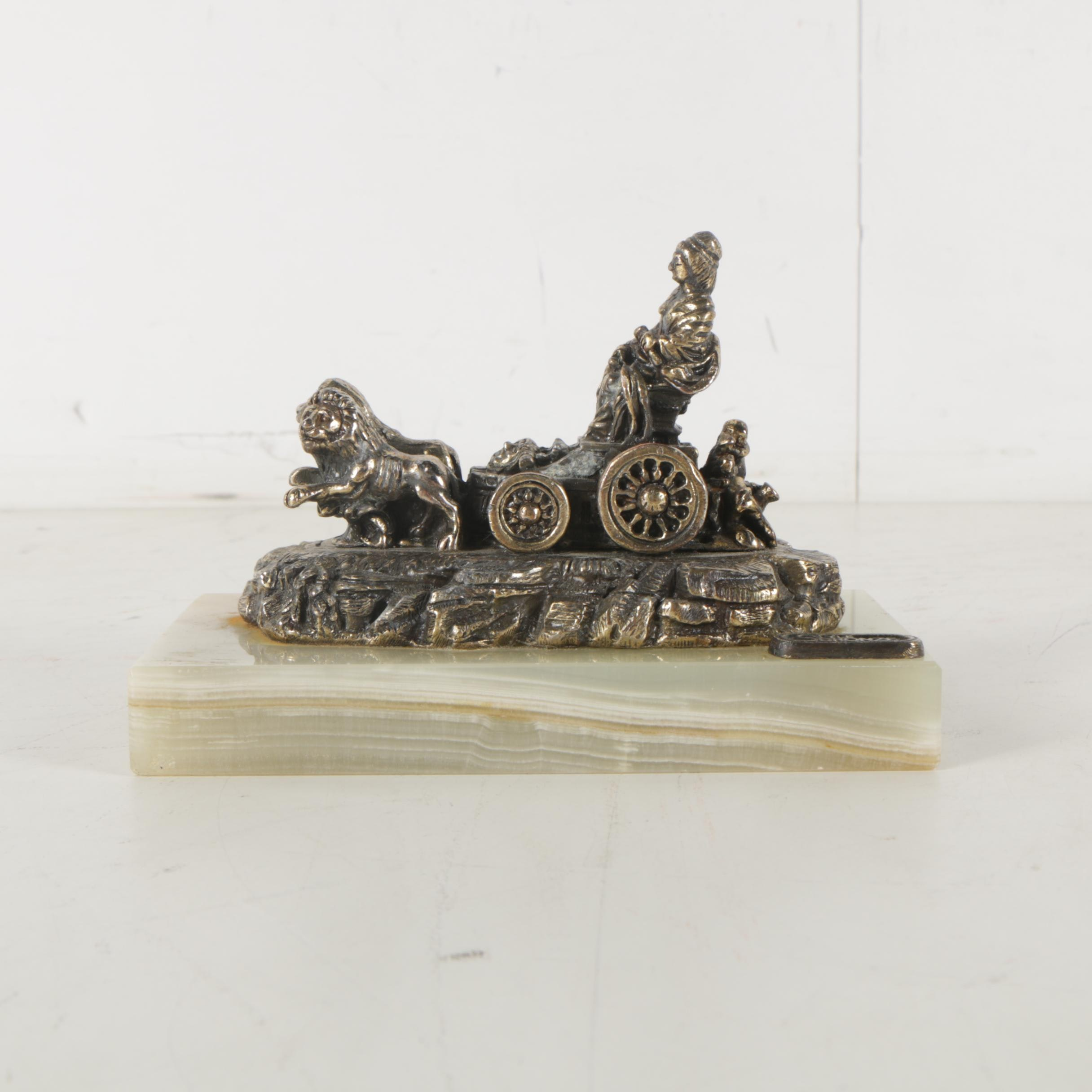 "Metal Figure After ""Fuente de Cibeles"" on Banded Calcite Base"