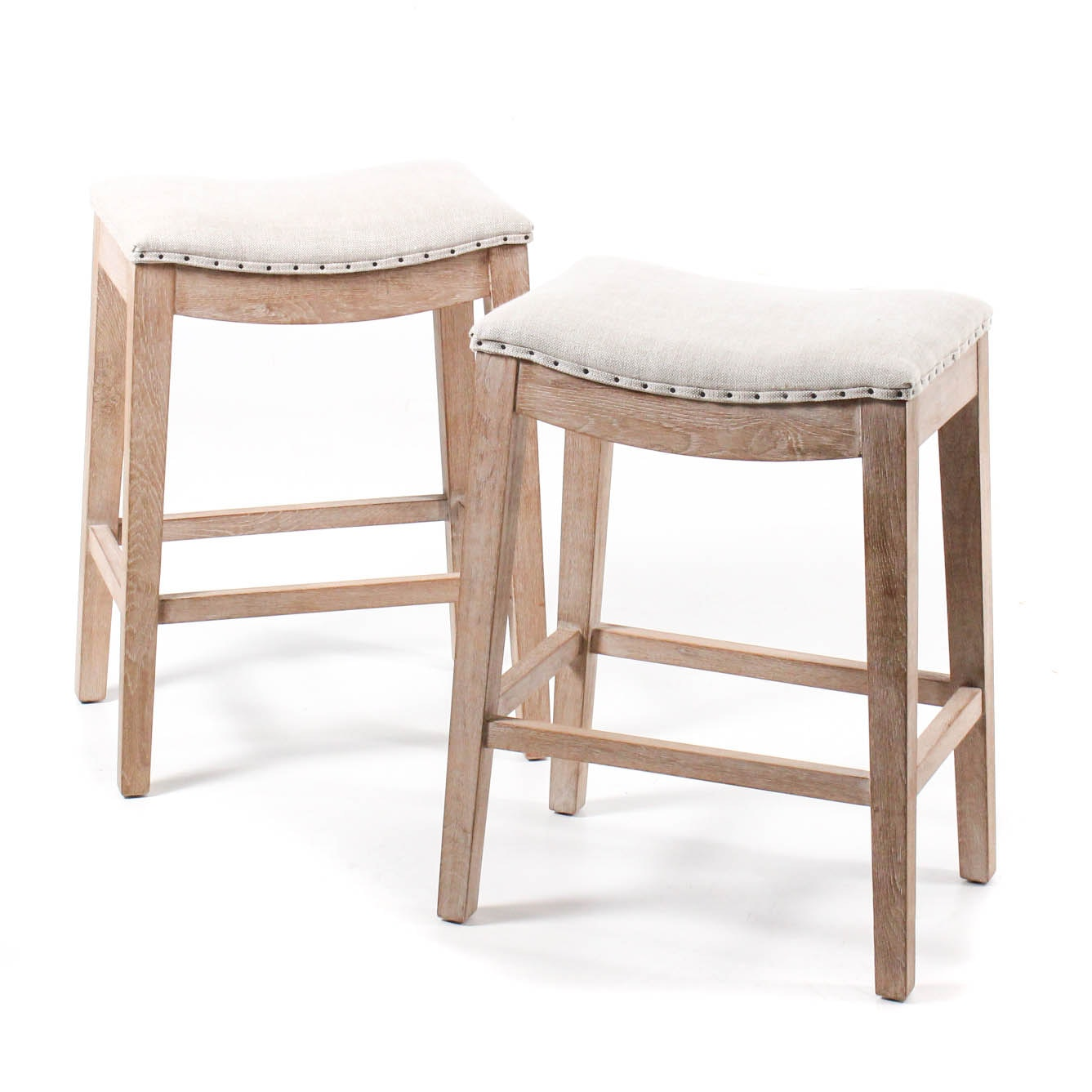 Orient Express Rustic Upholstered Stools