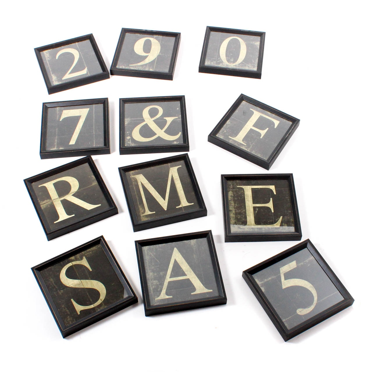 Dozen Rustic Letters and Numbers Wall Art