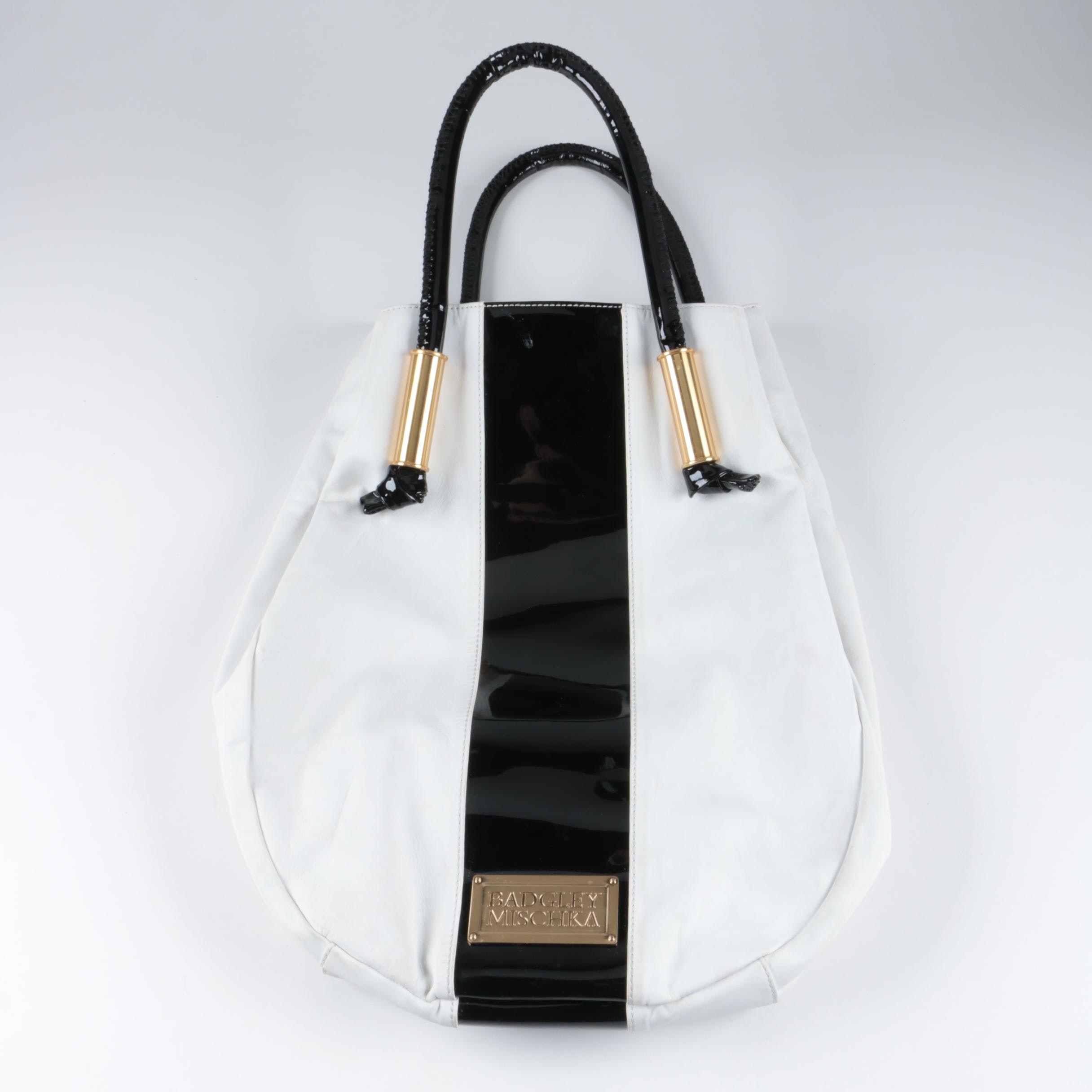Badgley Mischka Black and White Leather Tote