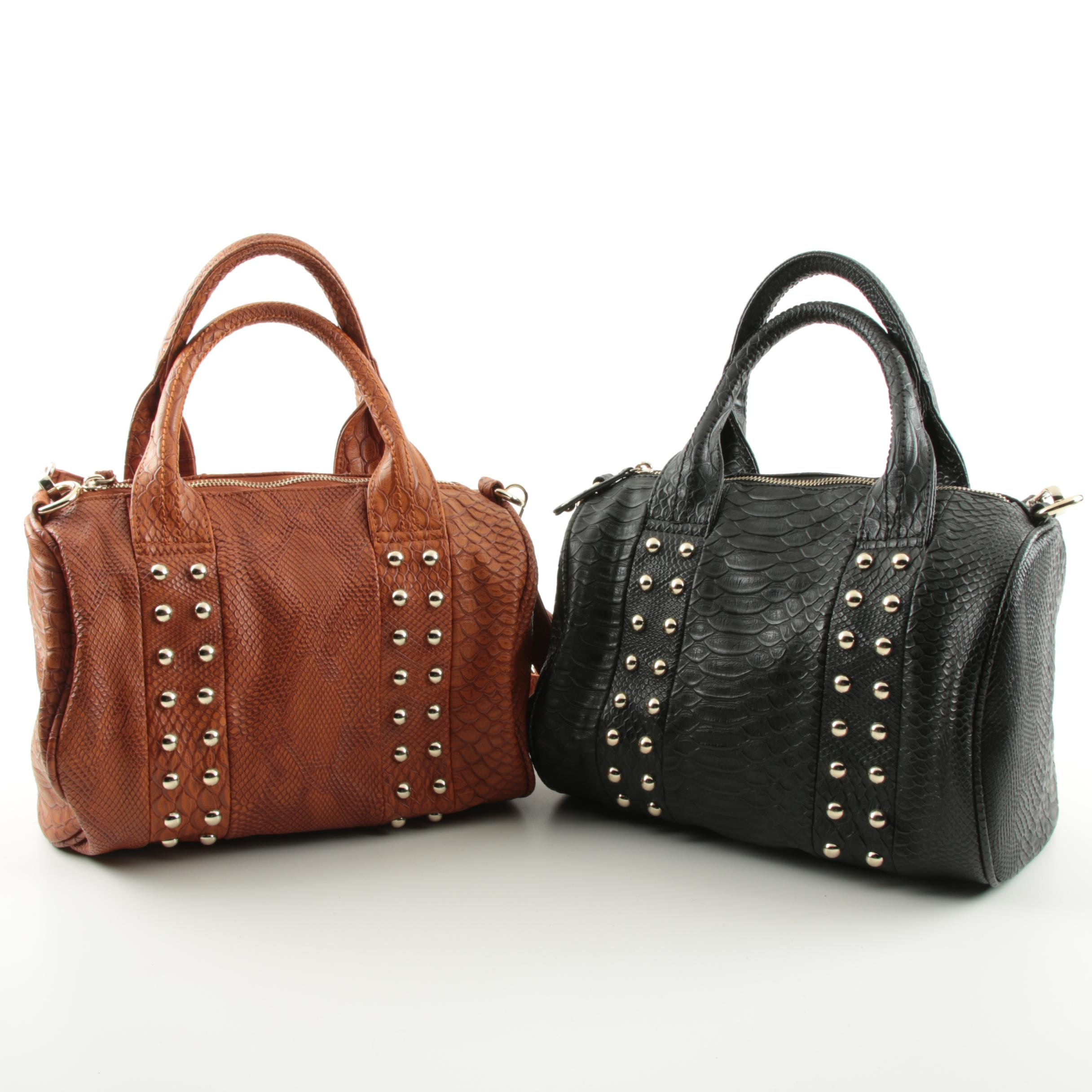 Faux Leather Studded Barrel Bags