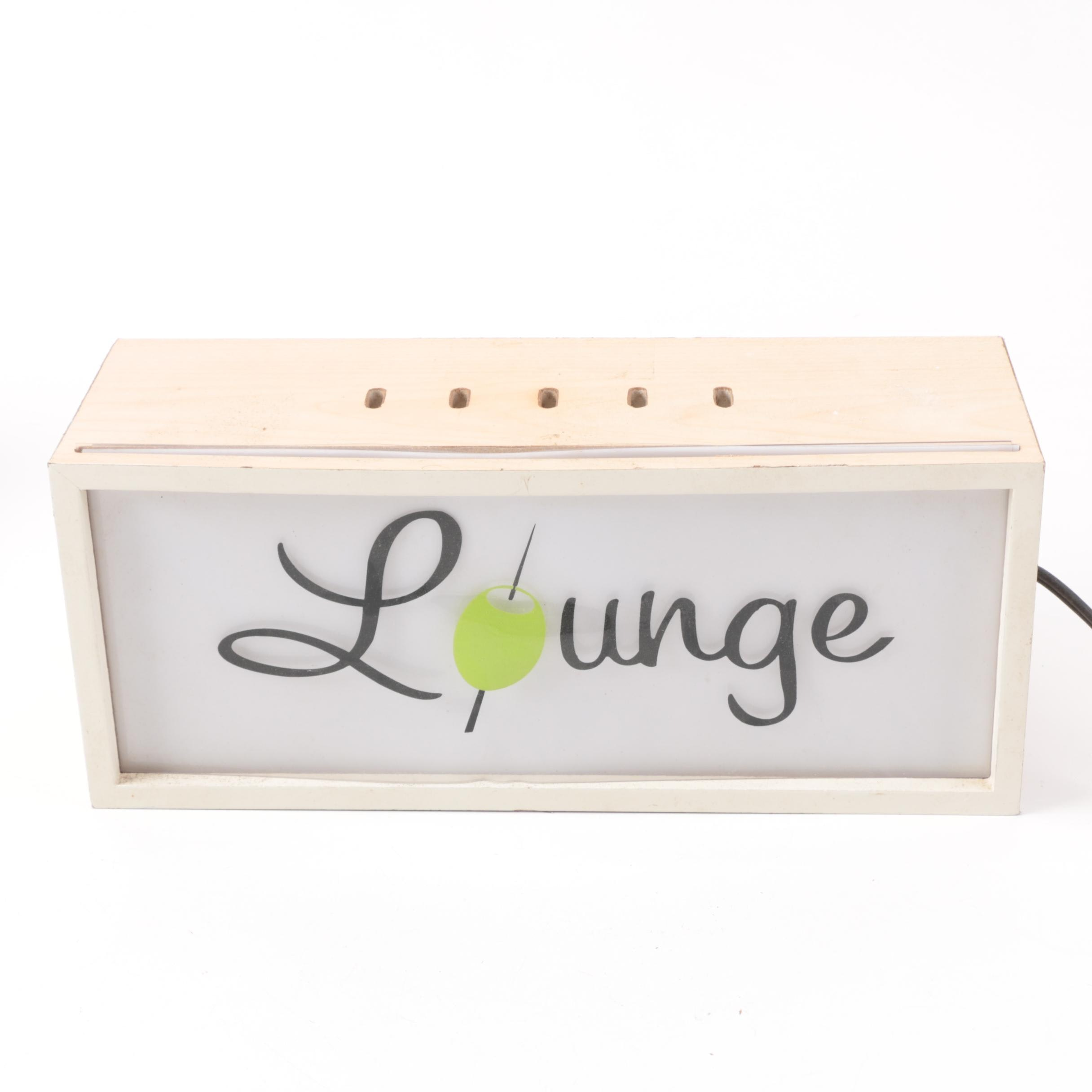 """Mid Century Modern Style """"Lounge"""" Lighted Sign"""