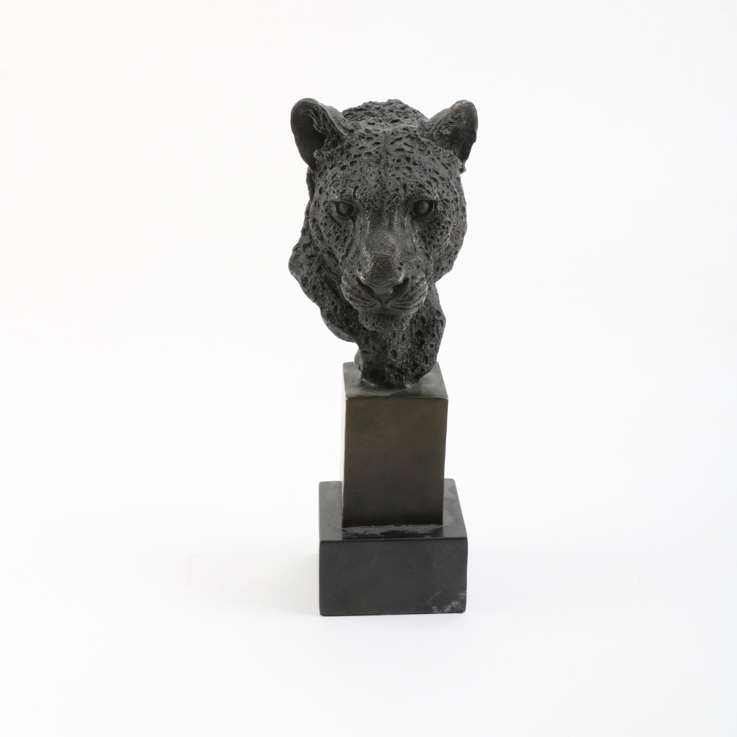P. J. Mene Bronze Cheetah Bust