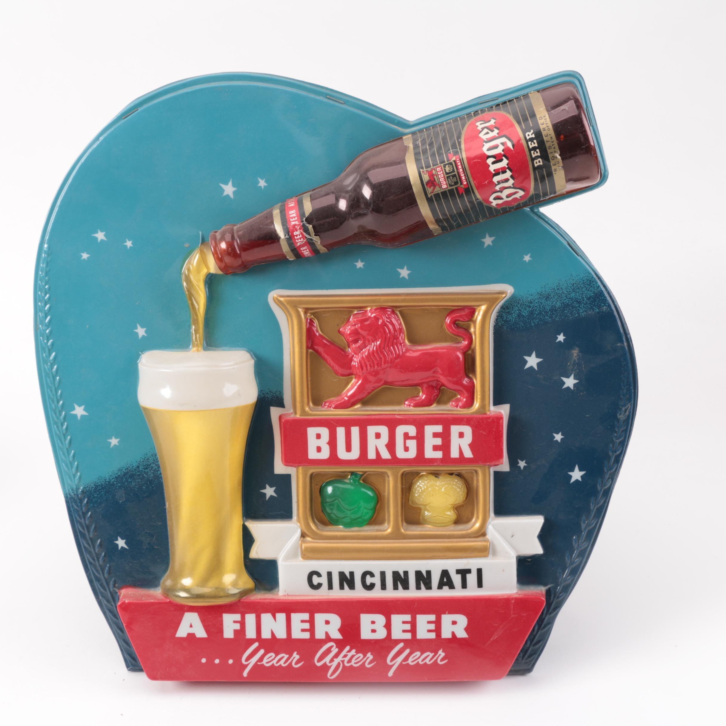 1950s Burger Beer Cincinnati Lighted Sign