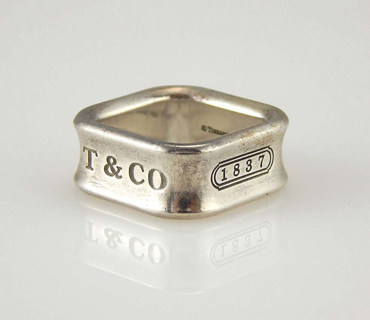 """Tiffany & Co. """"1837 Collection"""" Square Sterling Silver Ring"""