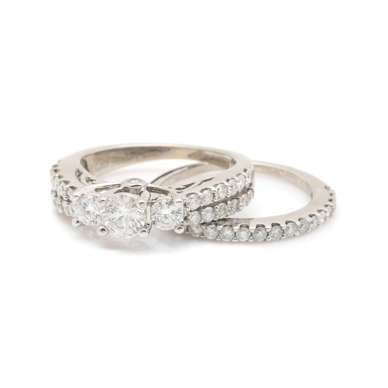 14K White Gold 1.57 CTW Diamond Ring Set