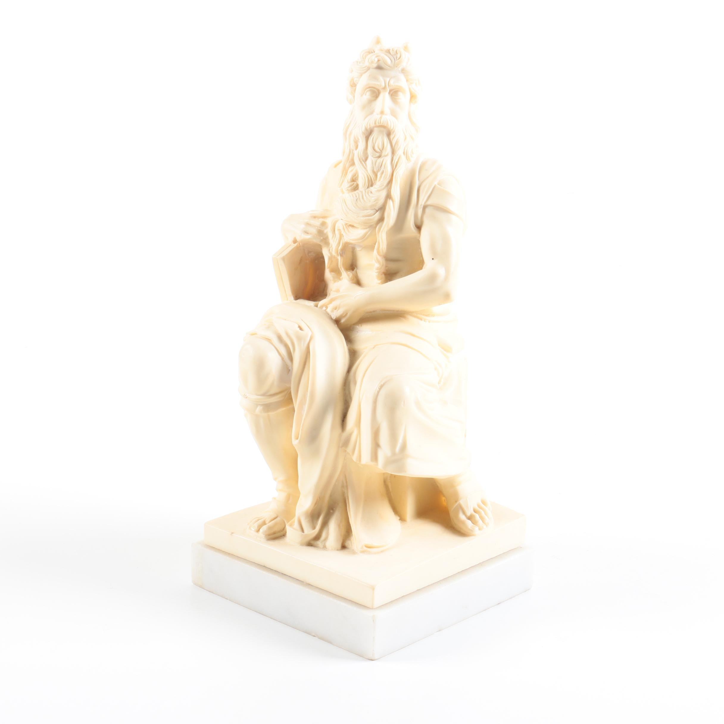 """Mid-Century Italian Reproduction Alabaster Figure After Michelangelo's """"Moses"""""""