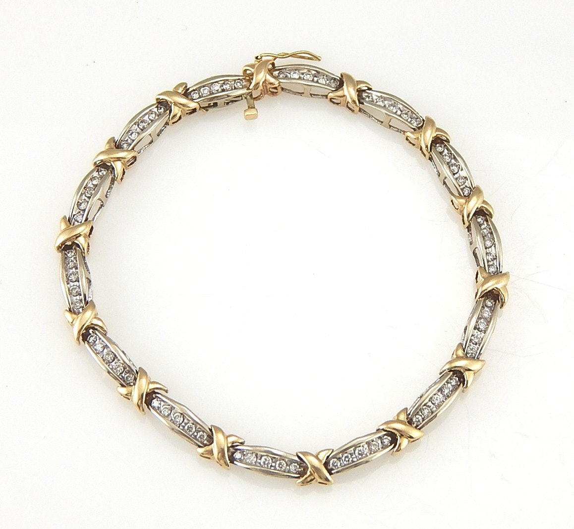 10K Two-Tone 1.00 CTW Diamond Link Bracelet