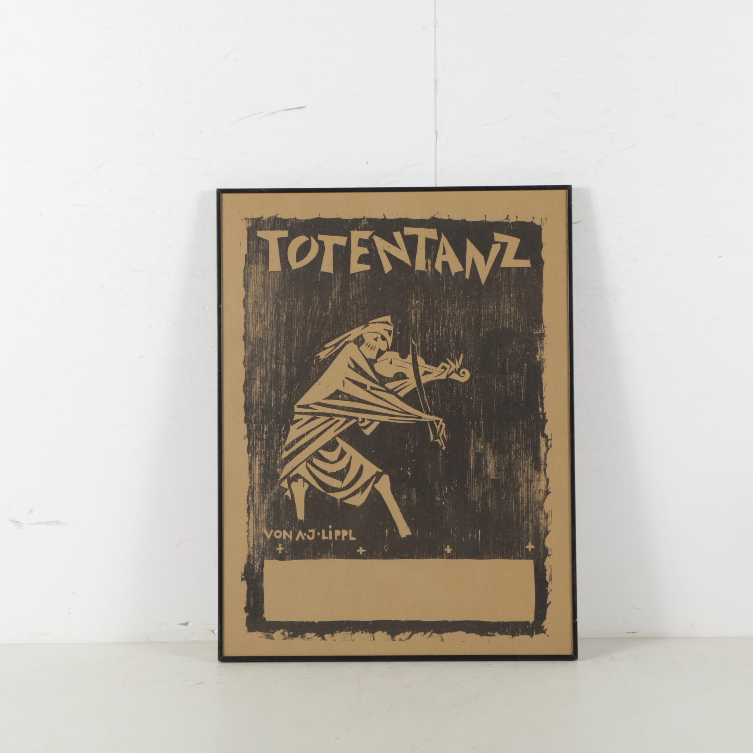 Woodcut Print Totentanz Show Bill Poster